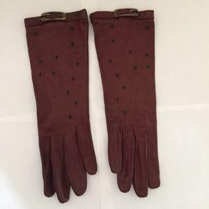 Accessories - Maroon Italian Leather Gloves